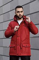 Парка мужская зимняя Winter Parka с капюшоном, теплая куртка удлиненная красная