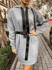 Женское теплое платье с врезными карманами, свободного кроя. Размеры С М Л.