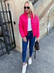 Женская куртка, стилькая, короткая, осень-зима, карман врезной на молнии. Размер С М Л. Цвета: красный, малина