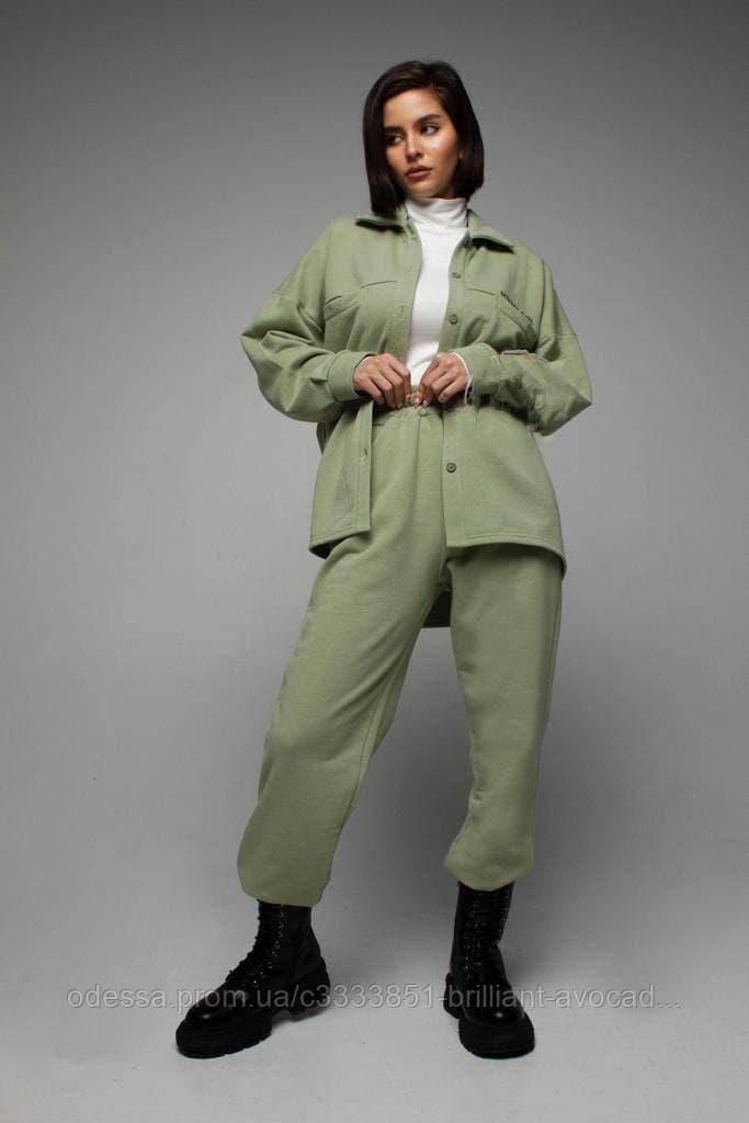 Теплый модный женский костюм двойка (кофта и штаны с высокой талией)