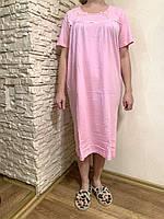 Размер 54 (3ХL) ! Ночная сорочка для женщин голубого цвета, хлопок 100%, домашний текстиль, домашняя одежда