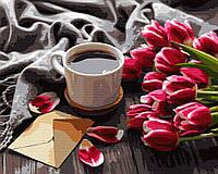 Картина по номерам. Тюльпаны и кофе, 40*50 см, Brushme