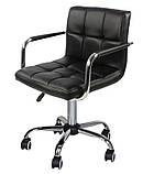 Крісло на колесах Стар Нью чорне екокожа для майстра манікюру СДМ група (безкоштовна доставка), фото 5