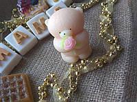 Сувенирное мыло Мишка с розой. Оригинальный подарок для девушки. Мыло- валентинка
