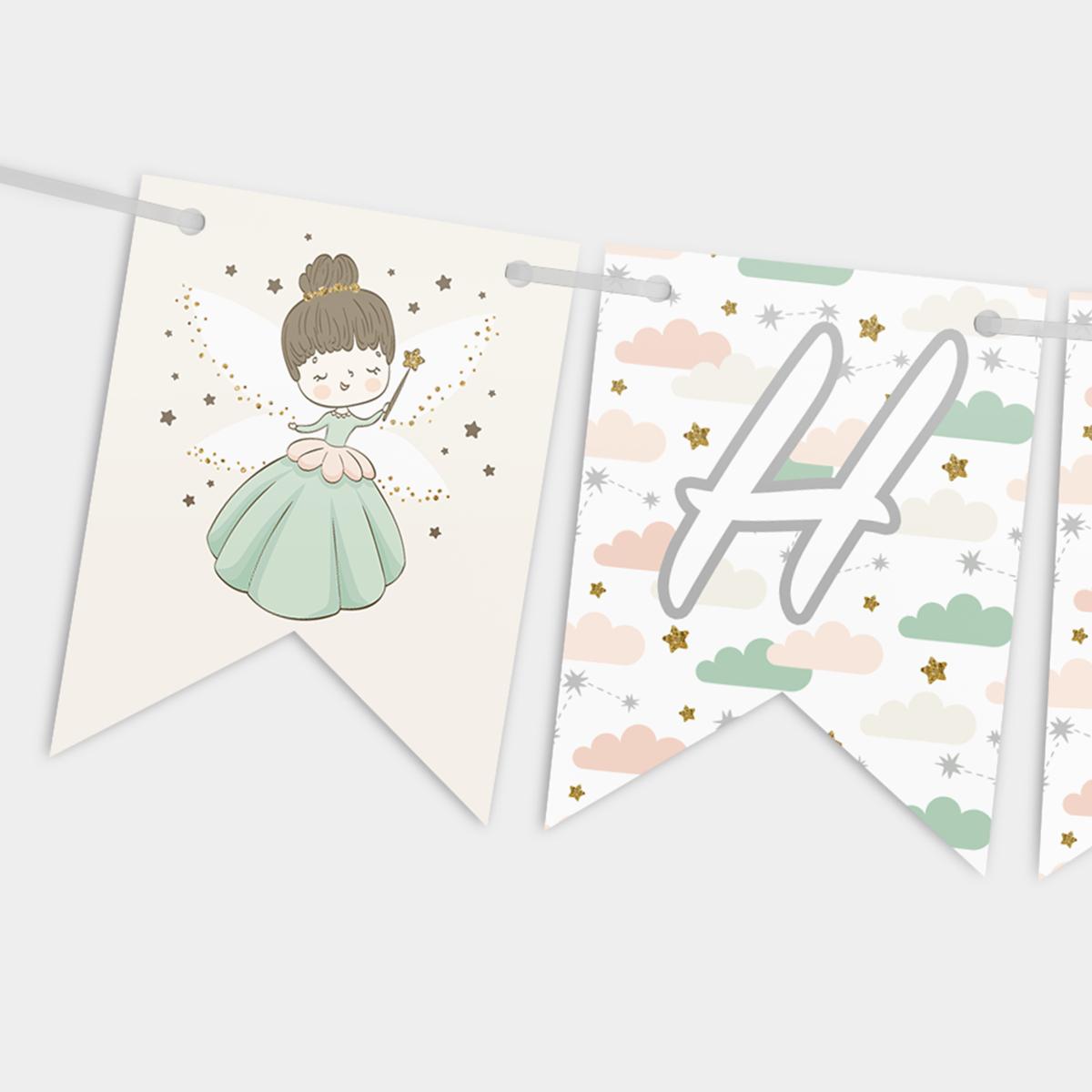 Гирлянда бумажная Happy birthday Принцеска Зелёная