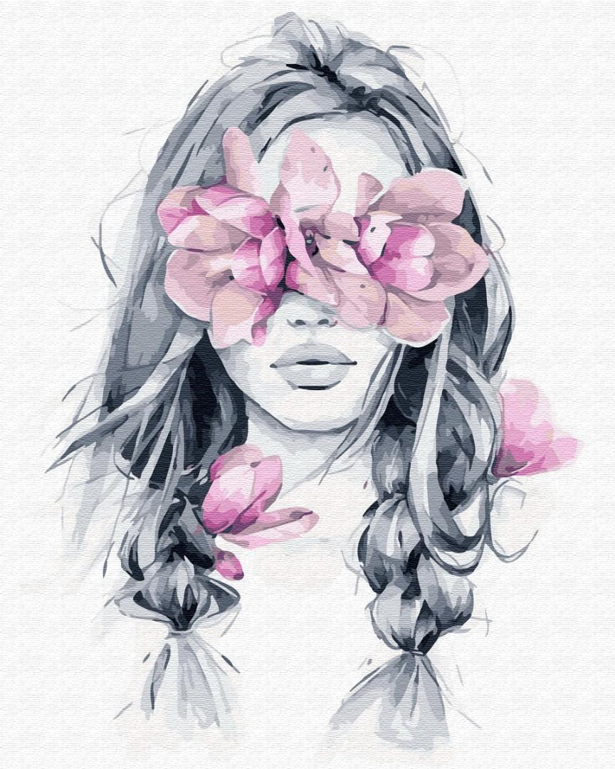 Картина по номерам. Девушка с цветком, 40*50 см, Brushme