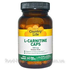 Жіросжігателя L-карнітин 500 мг 60 капсул ТМ Кантрі Лайф / Country Life
