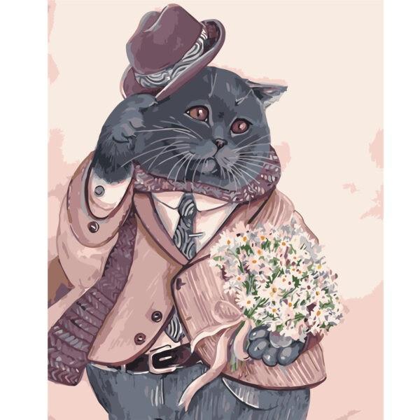 KMVA-1409 Картина по номерам Шотландский кот в костюме, 40х50 см