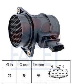 Расходомер воздуха 4-контактный (0 281 002 980) Fiat Doblo 1.3MJTD 16v  после 2005 года
