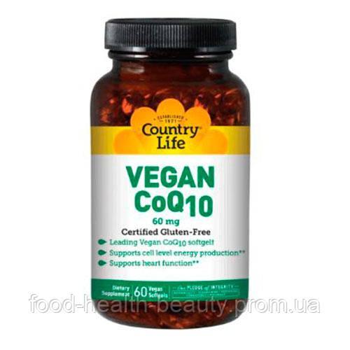 Дієтична добавка Vegan CoQ10 (Веган Коензим Q10) 60 мг 60 капсул ТМ Кантрі Лайф / Country Life