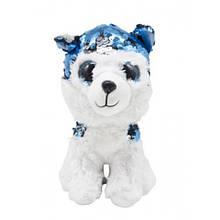 Мягкая игрушка Глазастик с пайетками: волчонок