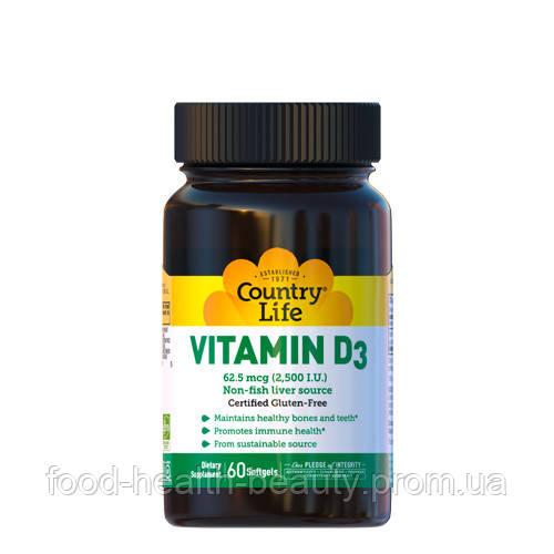 Вітамін D3 2500 МО 60 капсул ТМ Кантрі Лайф / Country Life