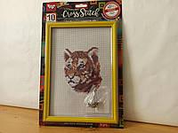 """Набор для вышивки крестом на канве с рамкой """" Тигр"""" , канва, AIDA, мулине, детское творчество, 28,5x19,5 см"""