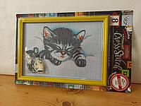 """Набор для вышивки крестом на канве с рамкой """" Милый котенок """" AIDA, мулине, детское творчество, 28,5x19,5 см"""