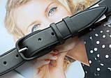Женский кожаный моноцветный ремень черный, фото 2