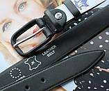 Женский кожаный моноцветный ремень черный, фото 3
