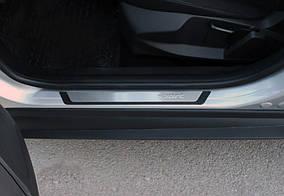 Dacia Lodgy 2013↗ рр. Накладки на пороги Flexill (4 шт, нерж) Exclusive
