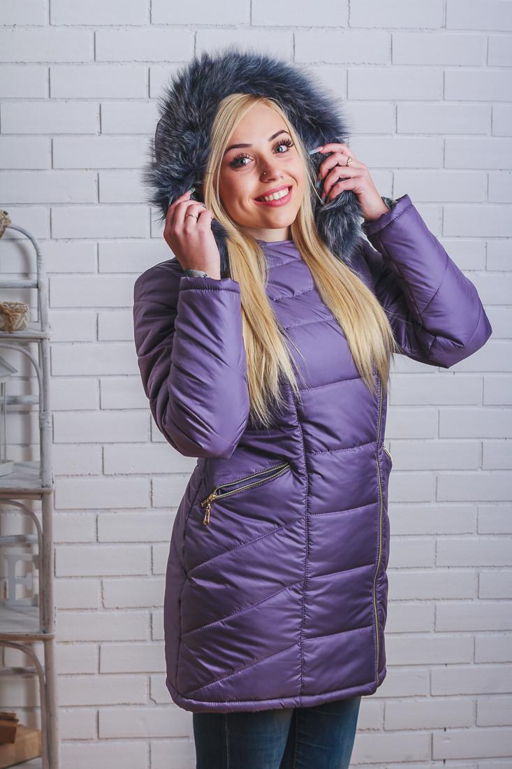 Пальто женское зима фиолет