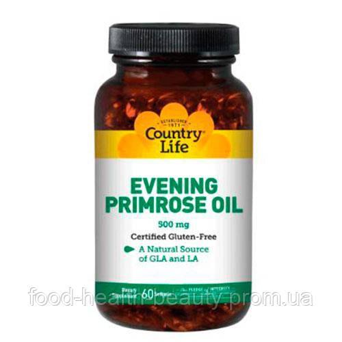 Evening Primrose Oil (Масло примули вечірньої) 500 мг 60 капсул ТМ Кантрі Лайф / Country Life