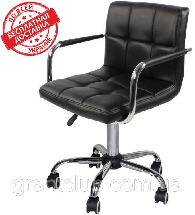 Крісло на колесах Стар Нью чорне екокожа для майстра манікюру СДМ група (безкоштовна доставка)