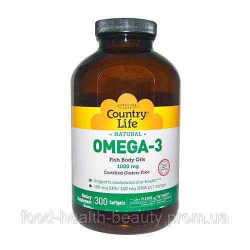 Вітаміни Omega-3 (Омега-3 риб'ячий жир) 1000 мг 300 капсул ТМ Кантрі Лайф / Country Life