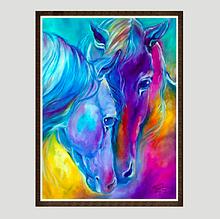 Картина алмазами Даймонд Яркие лошадки 30*40 1шт (0198)