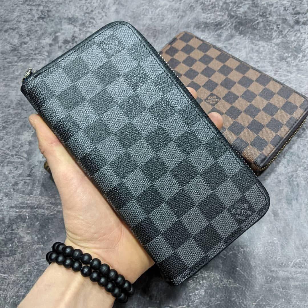 Кожаный кошелек Louis Vuitton CK1722 серый