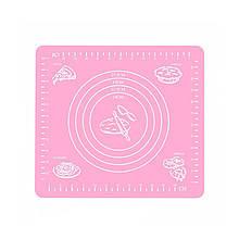 Силиконовый коврик Lesko Silicone Mat для раскатки теста выпекания в духовке 002 29x26 Pink