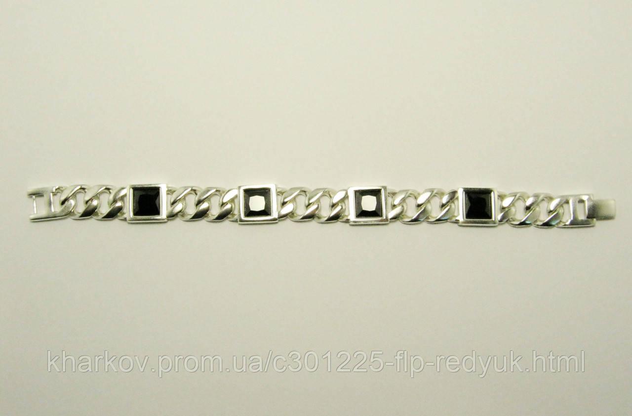 Серебряный мужской браслет Оникс