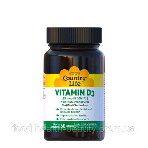 Вітамін D3 5000 МО 60 капсул ТМ Кантрі Лайф / Country Life