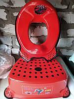 Комплект подставка накладка детские для унитаза умывальника, набор ступенька и вставка, Турция, красный, фото 1