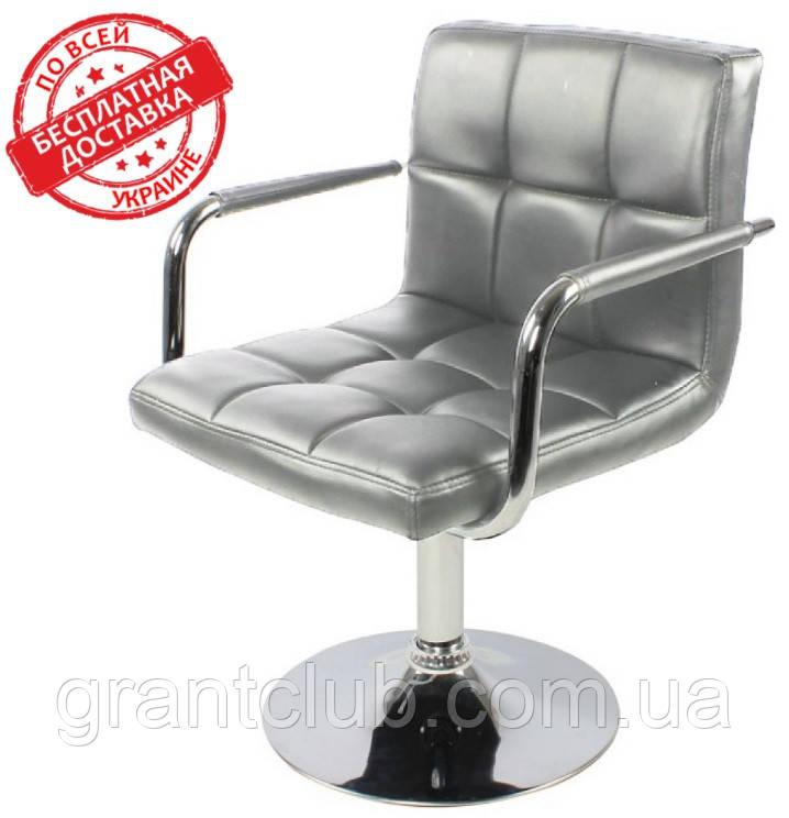 Кресло парикмахерское поворотное Артур серое экокожа СДМ группа