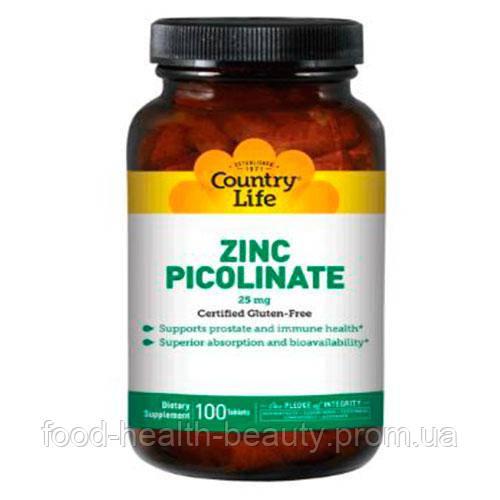 Пиколинат цинку таблетки 25 мг №100 ТМ Кантрі Лайф / Country Life