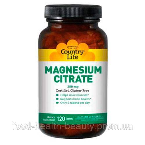 Цитрат магния 250 мг 120 таблеток ТМ Кантри Лайф / Country Life