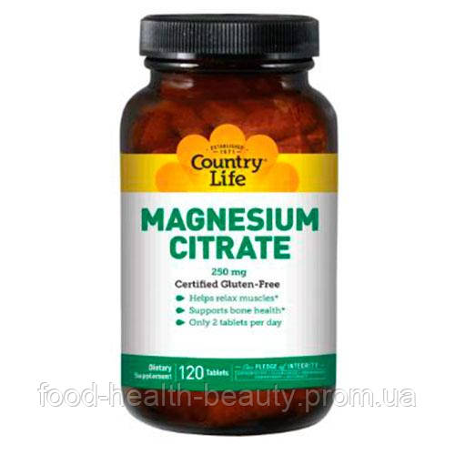 Цитрат магнію 250 мг 120 таблеток ТМ Кантрі Лайф / Country Life