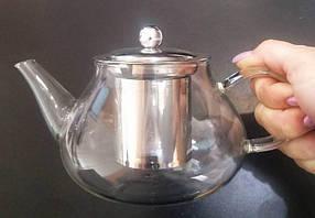 Чайник стеклянный заварочный с нержавеющим ситечком HLS 600 мл (6812), фото 3