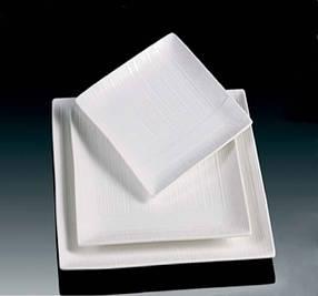 Тарілка квадратна тиснена порцелянова HLS Extra white 160х160 мм (W0140), фото 2