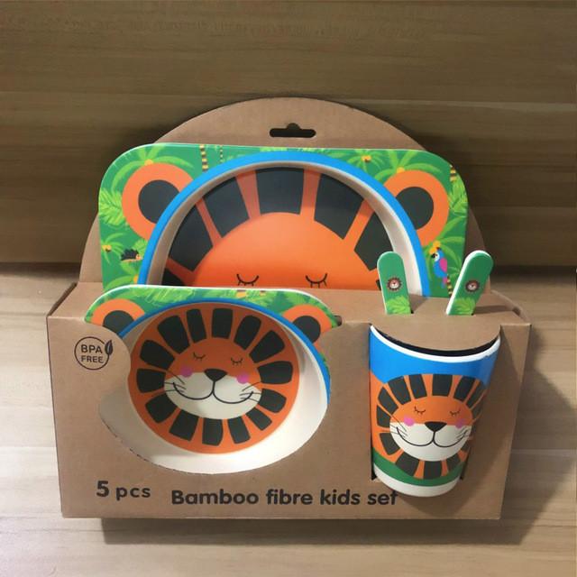 Детский посудный набор из бамбукового волокна 5 предметов Львенок HLS (4309)