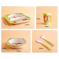 Детский посудный набор из бамбукового волокна 5 предметов Львенок HLS (4309), фото 2