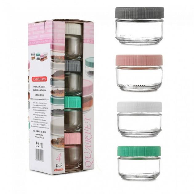 Набор банок стеклянных по 100 мл разноцветная крышка Qwartet (4100)