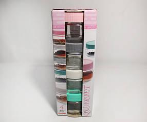 Набор банок стеклянных по 100 мл разноцветная крышка Qwartet (4100), фото 2