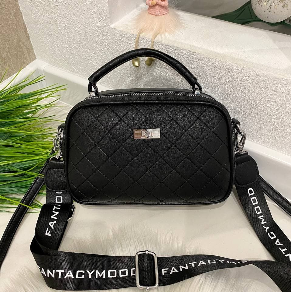 Женская сумка Ginger на 2 отделения с двумя ремешками черная СДФМ5