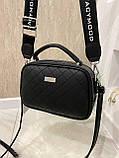 Женская сумка Ginger на 2 отделения с двумя ремешками черная СДФМ5, фото 6