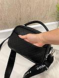 Женская сумка Ginger на 2 отделения с двумя ремешками черная СДФМ5, фото 7