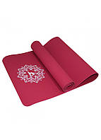 Коврик (мат) для йоги и фитнеса SportVida TPE 6 мм SV-HK0343 красный. Спортивный коврик для дома