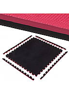 Мат-пазл (ласточкин хвост) Springos Mat Puzzle EVA 100 x 100 x 2 cм FM0007 Black/Red