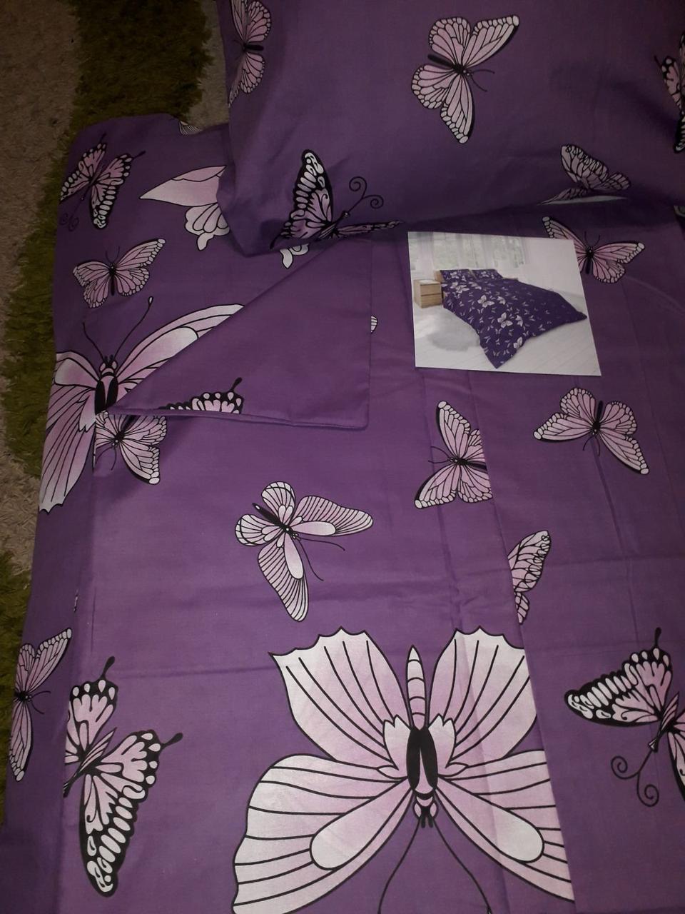 Комплект постельного белья  Бязь GOLD 100% хлопок Бабочки на фиолетовом полуторный размер