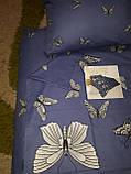 Комплект постельного белья  Бязь GOLD 100% хлопок Бабочки на фиолетовом полуторный размер, фото 3