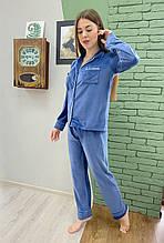 Пижама костюм для дома синяя джинс плюш  бархат рубашка + штаны