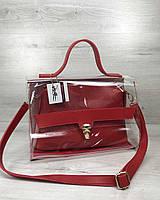 Женская сумка Welassie Эрика 2-в-1 Прозрачная с красным (65-56402)